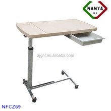 NFCZ69 Height adjustable hospital bed table with drawer
