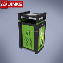 Outdoor Solar Energy Backlit Advertising Waterproof Smart Trash Bin with Led Display