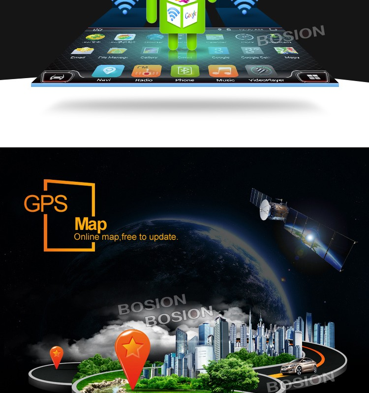 Android Car MP3 Video with USB SD Bluetooth Wifi Interface Capapcitive Screen