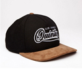 Cotton Cord custom design black embroidery logo wholesaler snapback hat