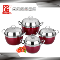 8 pcs stainless steel soup pot set with metal handle
