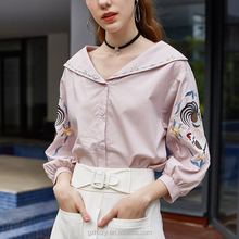 Long sleeve deep v-neck cotton patch work sexy indian women in blouse