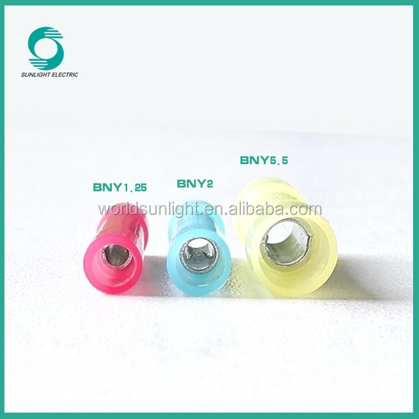 1.5-2.5mm2 BNY series insulated car battery terminal types Nylon butt connector