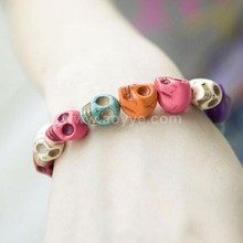 Punk Candy Color Turquoise Stone Bead Elastic Skull Head Bracelet