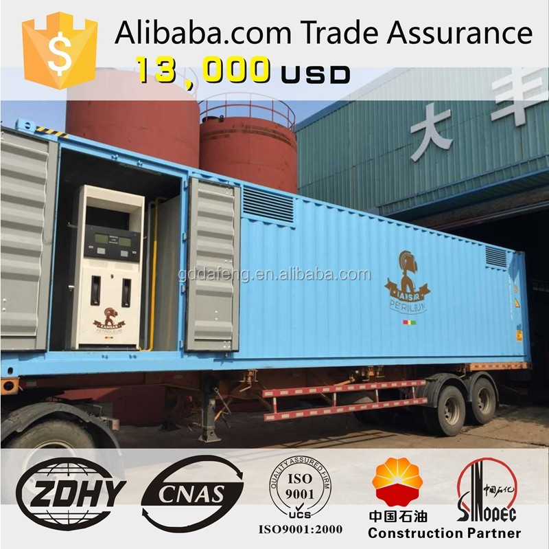 containerized mobile filling station both for gasoline and diesel skid mounted mobile petrol station tank
