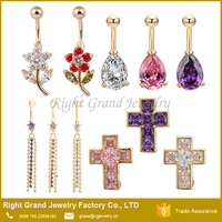 18K Gold Plated Cubic Zircon Stainless Steel Cross Belly Button Rings
