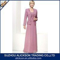 Formal Strapless Embroidered Beads Working Chiffon And Coral Mother Of The Bride Dress With Coat