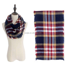 Fashion ladies woven plaid winter infinity scarf
