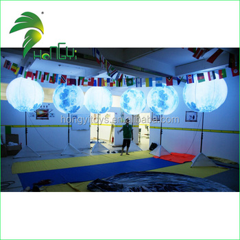 Cheap Price Custom Inflatable Standing led Light Balloon , Moon Ball With Tripod Holder