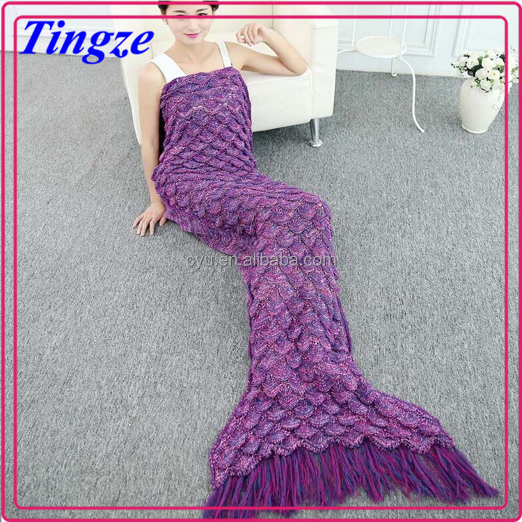new designed mermaid tail blankets with tassel soft Material Cotton blanket perfect the little mermaid lovely gift (kids,Adult)