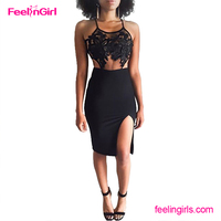 Hot Sexy Black Mesh Backless Halter Split Vintage Lady Fashion Lace Dress