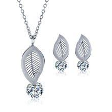 gold silver plated leaf stainless steel jewelry Set