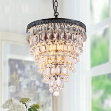 Antique Silver Cristal Lampara Pendant Lights Round Chandelier Crystal Chandeliers Hanging Lighting Fixture CZ2532AS