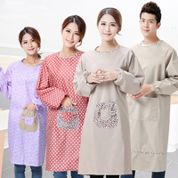 Apron Korean fashion kitchen waterproof cute long-sleeved smock adult female men's waist overalls oil