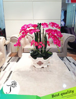 Factory price decorative cheap wholesale artificial flower orchid with ceramic vase 33colors!!!