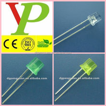 low price super high bright 5mm flat top pure green led(CE&RoHS)