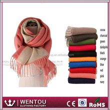 Double-sided Color Scottish Cashmere Scarf with Fringe