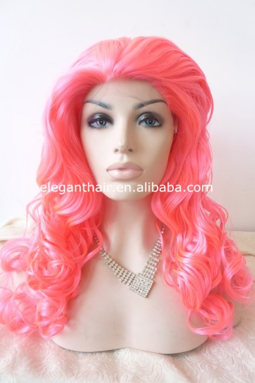best sythetic hair lace front wig wholesale fairy tale beautiful princess cosplay pink wig