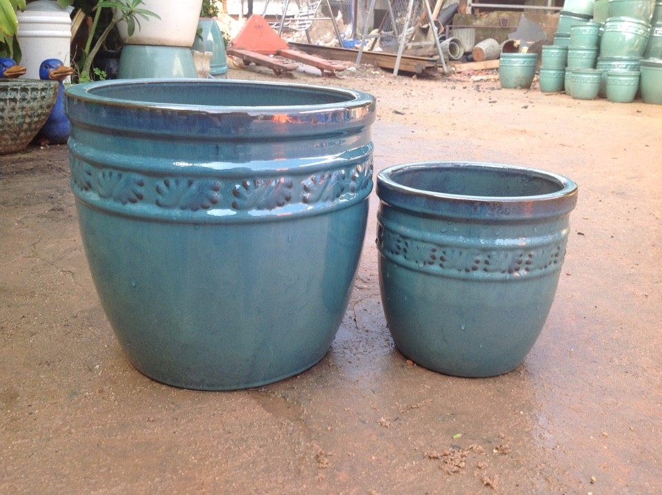 glazed ceramic bowl, garden planters, flower pot