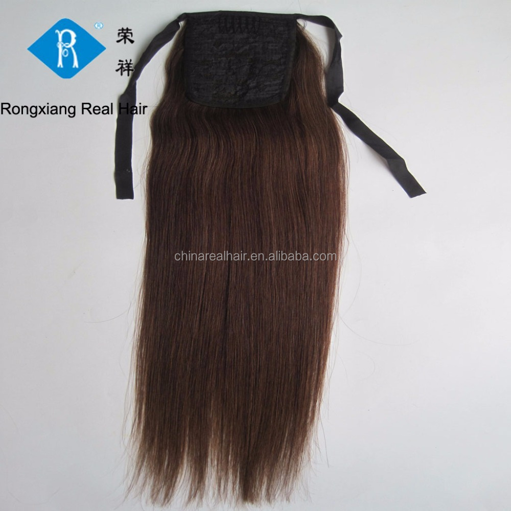 Top quality double drawn natural human hair drawstring ponytail