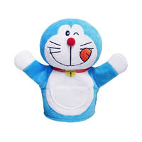 hot sale cartoon character doraemon story hand puppet plush toy in blue