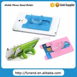 Reuseable Silicone Mobile Phone Crad Holder with 3M Sticker