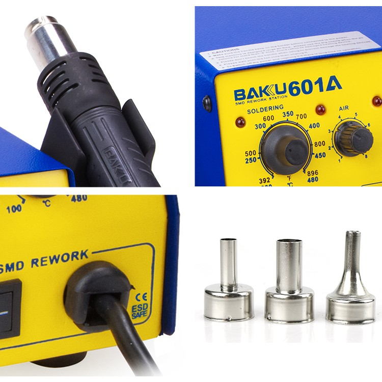BAKU Desoldering station Indicator Light Infrared Rework Station Soldering Iron 2 IN 1 Hot Air Gun Antistatic Soldering Station