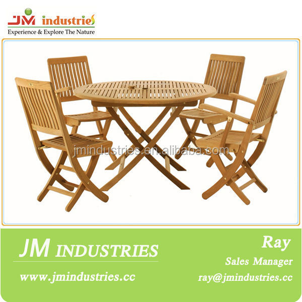 wooden garden furniture,hardwood round folding tables and chiars,hardwood sienna round folding table4 sienna chairs