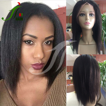 Unprocessed Virgin Peruvian Human Hair 10inch Italian Yaki Full Lace Wig with Baby Hair for Black Women