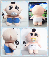 Cute stuffed soft plush baby boy doll with a pacifier and wave board candy