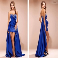 Wholesale Custome Made Chiffon Beaded Royal Blue High Low Prom Dresses 2014