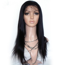 2016 High Quality Premier Silk Straight Brazilian Human Hair Full Lace Wig with Baby Hair