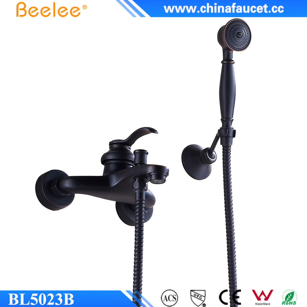 Beelee Oil Rubbed Bronze Wall Mounted Bath Shower Faucet with Hand Shower
