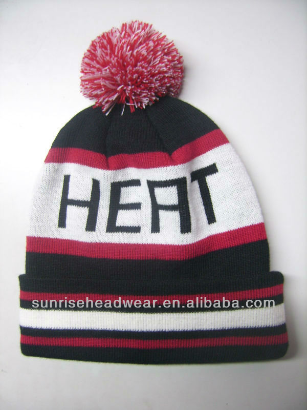 custom knitted winter hats with ball on top