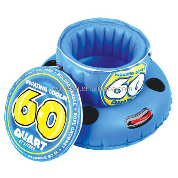 60 Quart Inflatable Floating Cooler with can holder