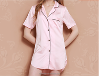 Wholesale cheap ladies short sleeves satin nightshirt with piping and patch pocket shirttail hem