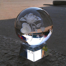Hot sale personalized 3d laser engraving crystal ball with led base