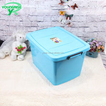 top sale 69L plastic colourful large storage bin custom transparent box heavy duty plastic crates