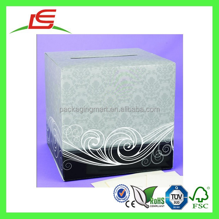 Q1274 square damask decorate wedding money box money card for How to decorate a money box