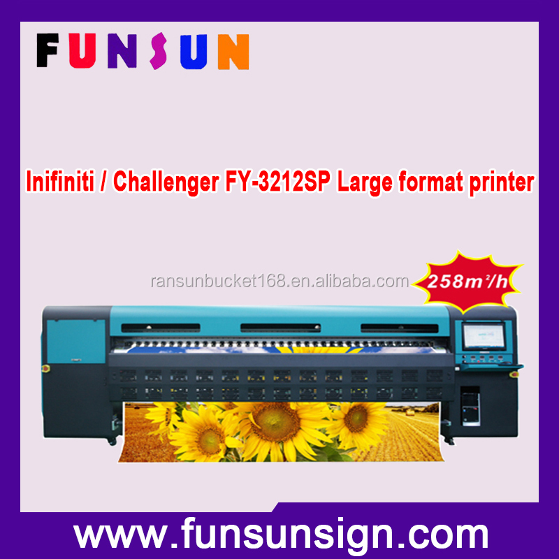 Super Speed!! Infiniti / Challenger FY-3212SP Digital Flex Banner Printing Machine Price (258m2/h 12 SPT510-50