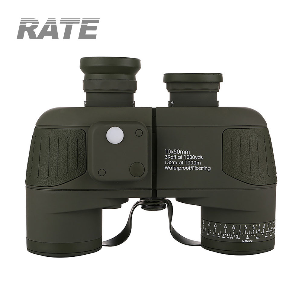 7X50mm Military Binoculars with built-in compass range reticle waterproof floating