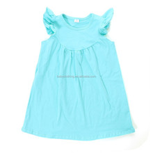 Howell many colors plain flutter ruffle cotton aqua new model girl dress