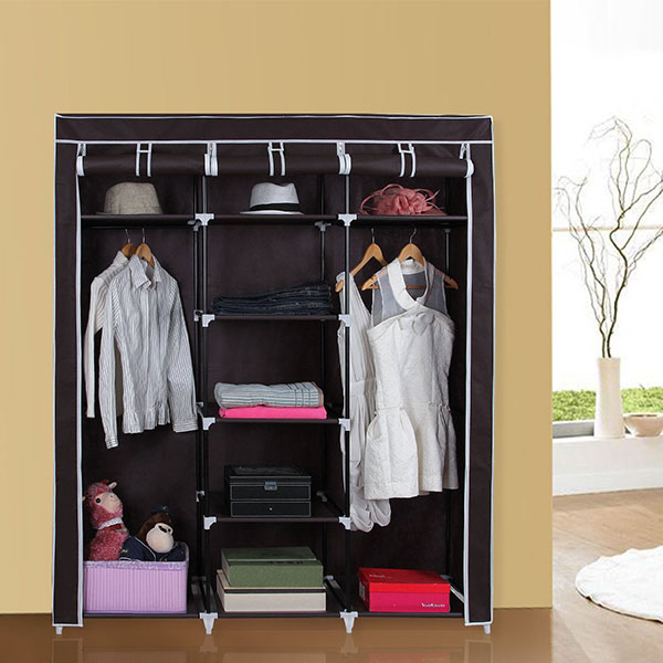 Protable Cupboard Hanging Rail Clothes Storage Wardrobe Closet