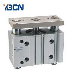 Double Action Three Rod Guided Pneumatic Cylinder non rotating pneumatic 1.5MPa MGPM series