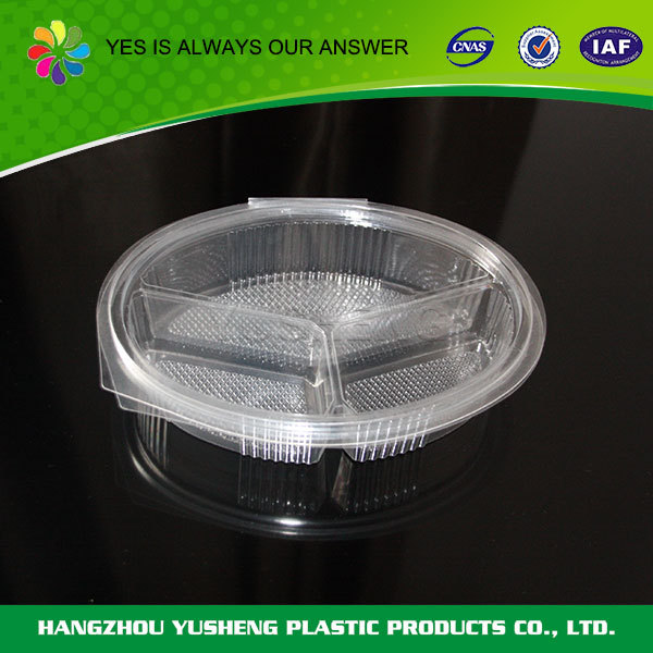 Disposable plastic compartment food tray