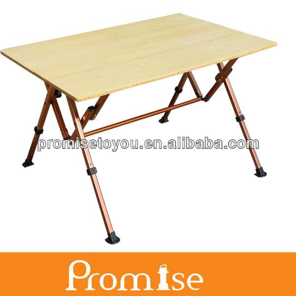 Folding bamboo camper table folding camping bamboo table height adjustable bamboo table pct337 - Camping table adjustable height ...