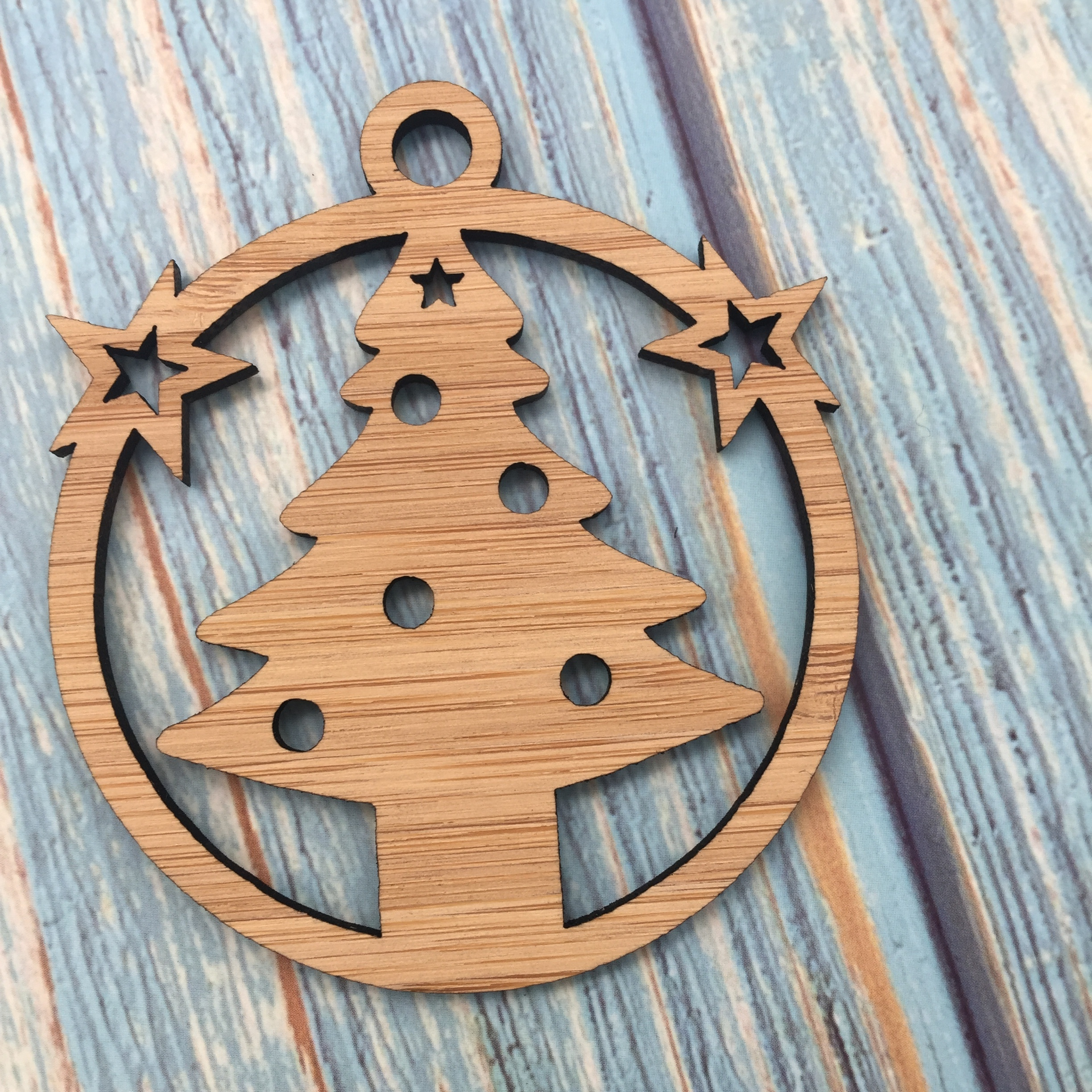 laser cut wood christmas ornament carved christmas tree ornament