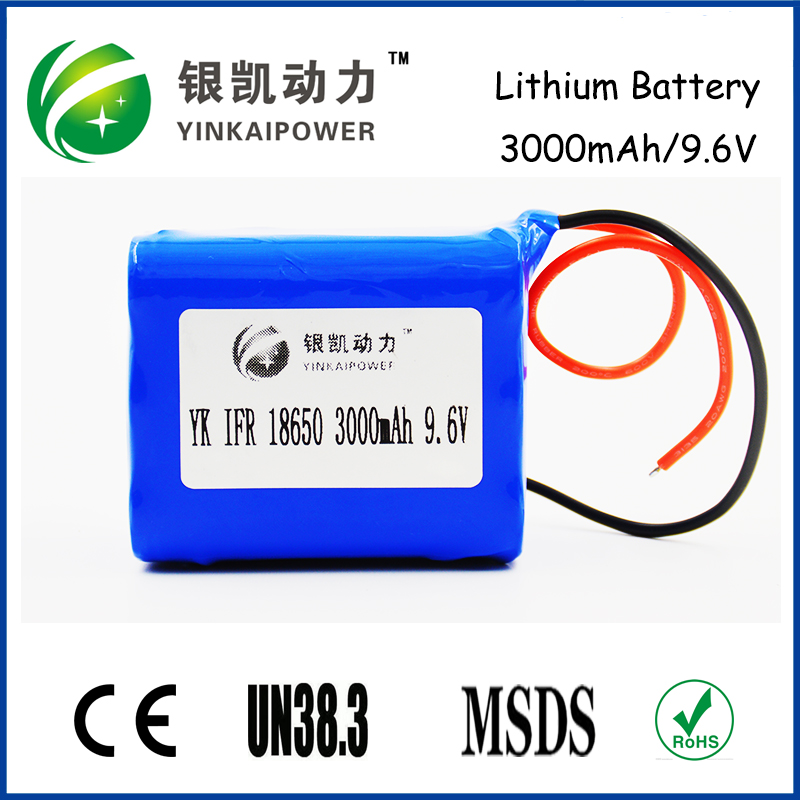 IFR 18650 9.6V 3000mAH LiFePO4 Battery 9.6V lithium battery pack