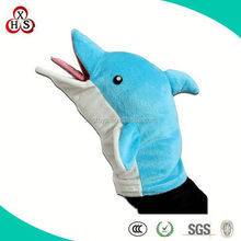 2015 OEM Custom high quality plush lovely dolphin hand puppet