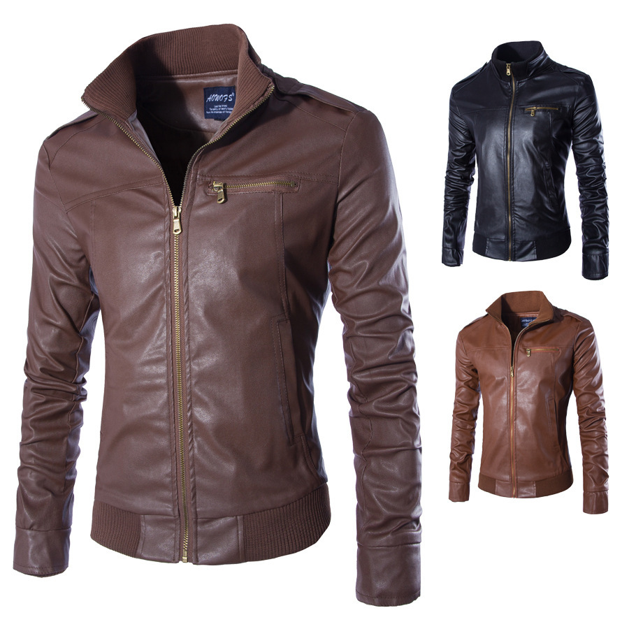 Men's Pakistan Kettle Design Coffee Brown Color Leather Steamed Jacket For Brewing